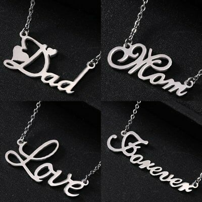 Dad Mom Mother Mom Love Forever Stainless Steel Pendant Necklace Jewellery Gift