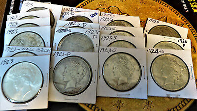 20 Silver PEACE Dollars Mixed Date/MM's FULL ROLL Fine-MS