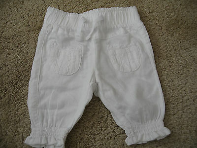 Next baby white Pants Trousers up to 1 month 4.5kgs 10lbs linen/cotton mix