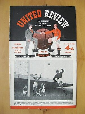 MANCHESTER UNITED v BLACKPOOL 1953/1954 *VG Condition Football Programme*