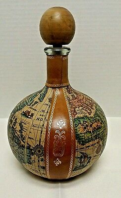 Large Vintage Italian Leather Wrapped Old World Map Decanter Bottle