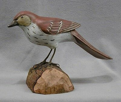 Carved Wooden State Bird of Georgia Brown Thrasher