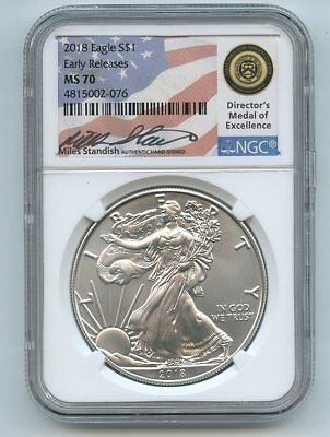 2018 $1 American Silver Eagle NGC MS70 ER Miles Standish Signed Medal of Excelle
