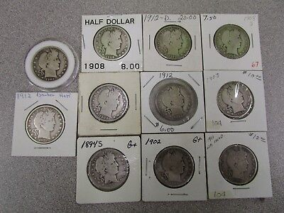 Lot of 11 Barber Half Dollars - Silver US Coins