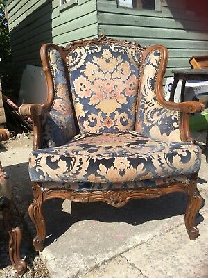 Antique French Style Rococo Baroque Italian 3 Piece Suite Louis Sofa 2 Armchairs