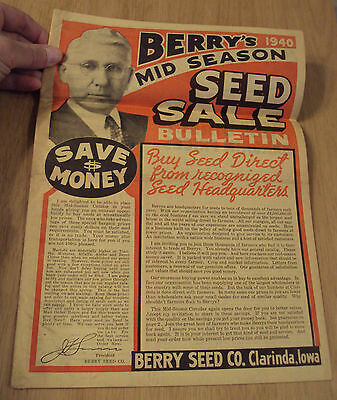 "VTG 1940 Mid Season SALE Bulletin/Catalog~""BERRY SEED CO""~Clarinda IOWA~Ephemera"