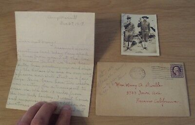 1917 WWI Letter/Photo from KILLED Calvary Soldier~
