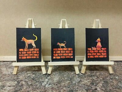 """3 x Original Watercolour Paintings ACEO """" Cats On Wall """" by Colin Coles"""