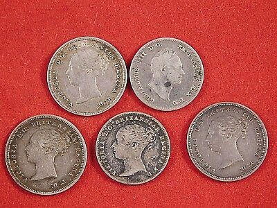 LOT of 5 ANTIQUE 1800s GREAT BRITAIN FOURPENCE COINS 4 VICTORIA 1 WILLIAM III