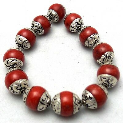 Red Coral Beads with Silver Plated Caps 10mm 12 pcs Nepal Tibet Tibetan AU03m