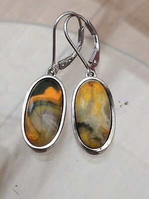 Silver Bumble Bee Jasper Earrings Beautiful And Top Quality