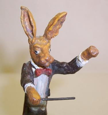 Rare COLD PAINTED BRONZE Vintage MR HARE Musical CONDUCTOR Miniature ORCHESTRAL