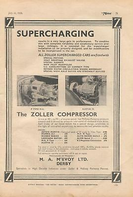 Zoller supercharging car compressor, made at Derby - magazine advert from 1935