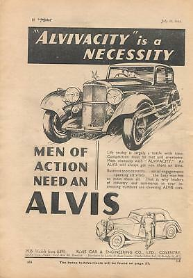 Alvis motor cars, made in Coventry - magazine advert from 1935
