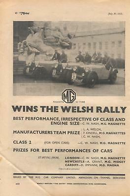 MG Magnette 'N' Types sports cars, Welsh Rally - magazine advert from 1935