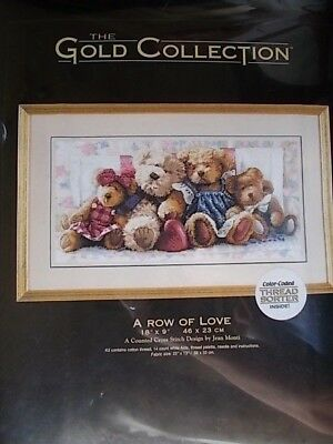 """Cross stitch Kit Gold Collection """" A Row of Love """" New by Dimensions  18"""" x 9"""""""