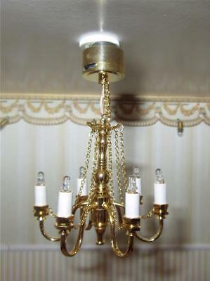 Miniature Dollhouse 1:12 Scale - 6-Arm Brass Battery Operated Chandelier C21(S)