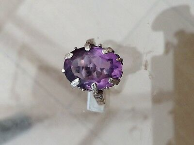 Silver Very Old Amethyst Ring Superb Stone(L)