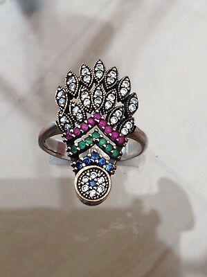 Silver And 9 Ct Gold Ruby Emerald Sapphire Ring Amazing(P)