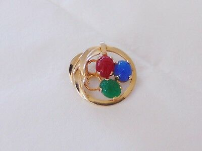 Vintage Gold Tone Scarab Brooch Egyptian Blue Green Red Leaves Circle Euc