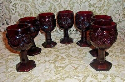 """Lot of 7 Avon Ruby Red Cape Cod Small Stemmed Goblets 4 1/2"""""""