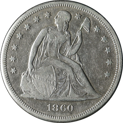 1860-O Seated Liberty Dollar Choice XF Details Bright White Nice Eye Appeal