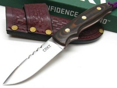 Columbia River CRKT Brown Hunt'n Fisch Straight Fixed Blade Knife + Sheath 2861