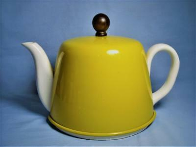 Vintage 1940s VICKI Japan Ceramic Teapot w/ Yellow Aluminum Insulated Cozy Cover