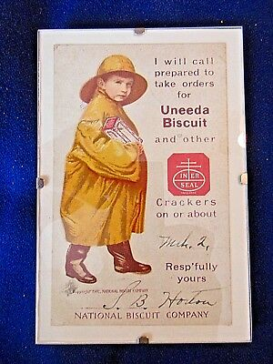 """1902 Advertising Card """"uneeda Biscuit Boy"""" 3X5"""" Signed Dated"""