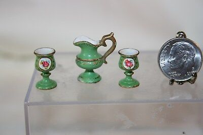 Miniature Dollhouse Victoria Fasken England Pitcher & Pair Goblets Pink Rose NR
