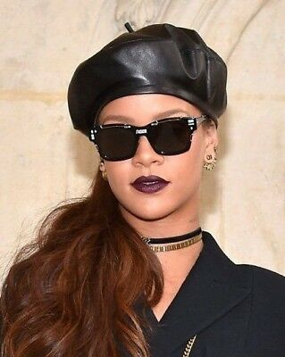 Quality Black Leather Beret Ladies Womens Fashion Hat #Rhianna #Gigi One SIze