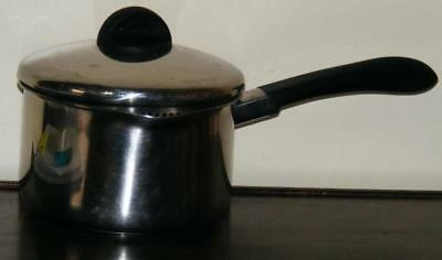 REVERE EXCELL VINTAGE 3 QT 96a STAINLESS STEEL DISK BOTTOM SAUCE PAN + LID FR SH