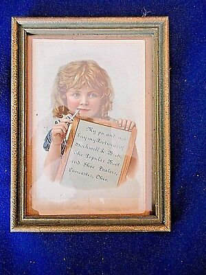"""Framed Trade Card Advertising Lancaster Ohio Shoe & Boot Dealers 4 X6"""""""