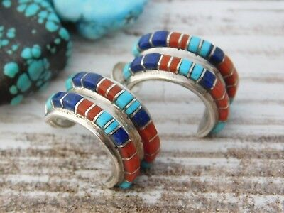 Vtg Old Pawn STERLING Silver ZUNI NASTACHU FINE Earrings TURQUOISE LAPIS CORAL
