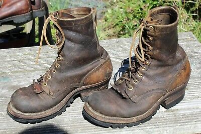 Vintage Tall Leather Logger Work Boots 6.5 E White's Nicks