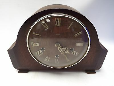 Vintage SMITHS Wooden Mantle Clock - No Key SPARES/REPAIRS - W20