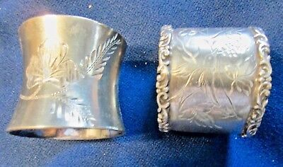 """2 Two Silverplate Napkin Ring Bird On 1 Flowers On Other 1.""""5 X 1.5"""""""