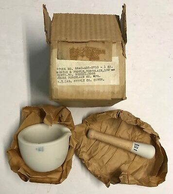 Orig. 1960's US Military Issue Coors Porcelain Co. Mortar & Pestle, In Orig Box