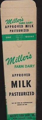 6 Waxed Paper Milk Cartons, Quart Size, Miller's Farm Dairy, New Canaan, CT
