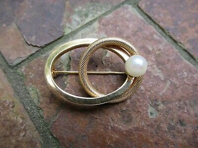 Vintage 18K Yellow Gold & Pearl Brooch / Pin, 5.5 gtw
