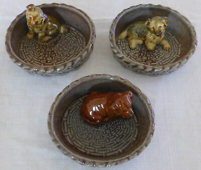 THREE Vintage WADE Red Setter + 2 Alsatian  PUPPY DISHES