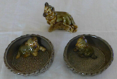 Vintage WADE Dogs + Puppies ALSATIAN + 2 ALSATIAN PUPPY DISHES
