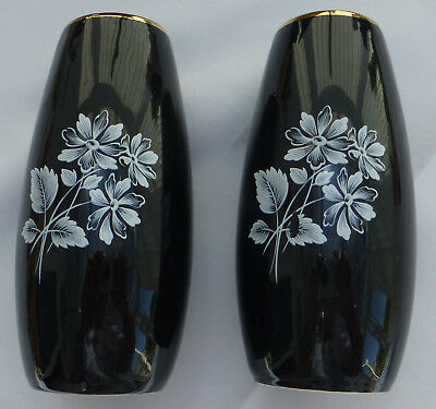 TWO Small WADE Black Frost VASES 1957 - 62 Shape 513