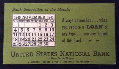 United States National Bank Blotter - In Oregon - 1945 November Calendar