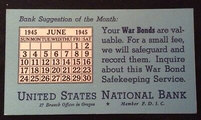 United States National Bank - 1945 June Calendar - In Oregon