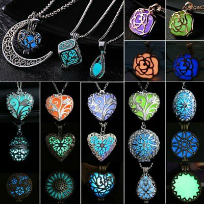 Charm Luminous Steampunk Magic Fairy Locket Glow In The Dark Pendant Necklace