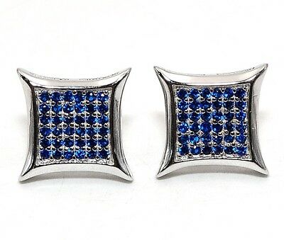 Blue Sapphire 925 Solid Genuine Sterling Silver Earrings Jewelry