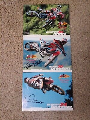 Three Autographed Honda Racing Team Motocross Racers from 2005