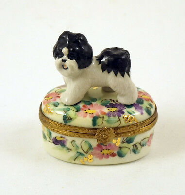 New Handpainted French Limoges Trinket Box Cute Shih Tzu Dog Puppy On Floral Box