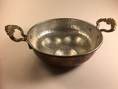 Vintage French Hammered Copper Brass Three Egg Poacher Pan Tin Antique